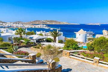 Alleys in garden on coast of Mykonos island, Greece