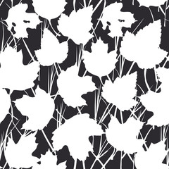 Vector seamless background with white maple leaves  for fashion textile or web background. silhouette on Black background. Vector