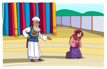The priest Eli rebukes Hannah during her prayer