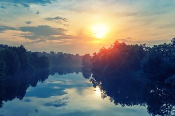 dawn on the autumn river