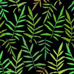 Seamless pattern with leafs tropical fern palm for fashion textile or web background. Green silhouette on black background. Vector