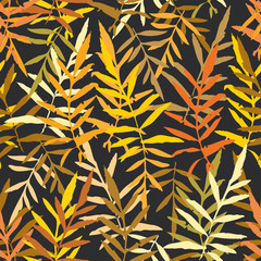 Seamless pattern with leafs tropical fern palm for fashion textile or web background. Gold yellow mustard orange brown silhouette on Black background. Vector