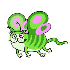 Cartoon fairy green cat flight. Vector illustration.