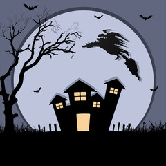 Witch Flying on Scary House