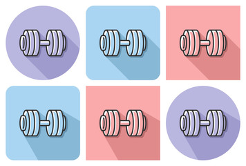 Outlined icon of dumbbell with parallel and not parallel  long shadows