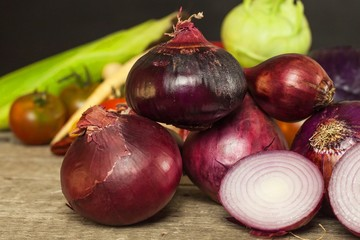 Fresh red onion. Homemade salad dressing with red onion. Healthy food.