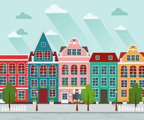 Vector illustration of european town. Flat design. Old houses.