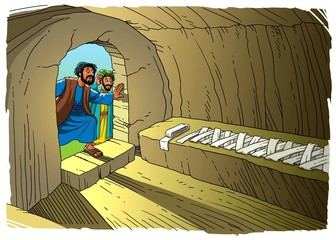 Disciples Peter and John have resorted to the empty tomb