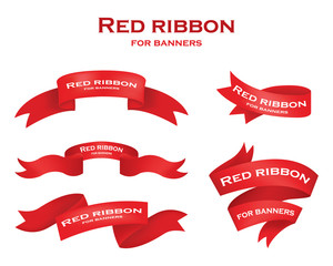Ribbon vector icon set red color on white background. Christmas sticker and decoration for app and web. Label, badge and borders collection.