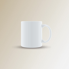 Realistic ceramic white cup on light background. Vector illustration.