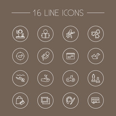Set Of 16 Entertainment Outline Icons Set.Collection Of Painting, Aquarium, Gardening And Other Elements.
