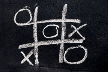 White chalk drawing as Tic Tac Toe with the winner and loser shape on black board background