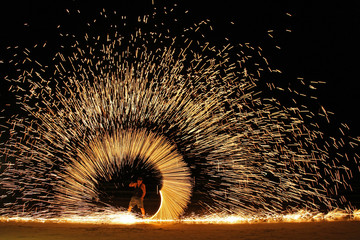 Koh Chang,Trad, Thailand, 21 April 2017, beautiful fire circle spining show talent at night party beach island in thailand