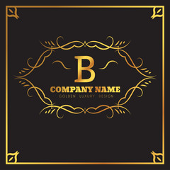 Golden Logo template Elegant flourishes calligraphic. Monogram B letter emblem. Vintage ornament lines. Luxury Business sign, identity for Restaurant, Fashion Boutique, Cafe, Hotel