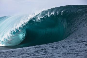 Ocean wave barrel in Tahiti