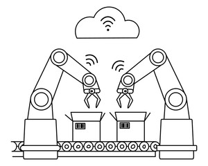 Industry 4.0 wireless network robotic assembly line. Unfilled line art