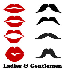 Ladies and gentlemen bathroom symbols. Stock vector lips and moustache fashion, vintage icons illustration
