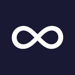 Vector image of the sign of infinity. White vector icon on dark blue background.