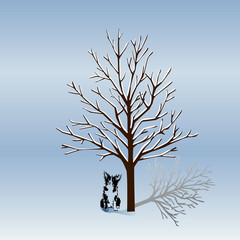 Silhouette of a tree without leaves in winter, and a dog silhouette in winter at night.The cartoon on a white background.