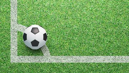 Palla da calcio su angolo del campo, tiro d'angolo