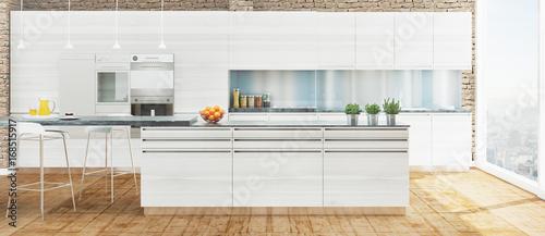 Cucina nuova bianca in legno con isola e parquet\