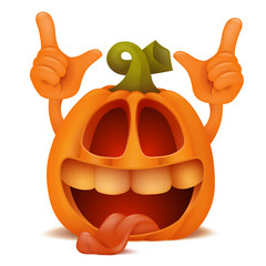 Laughing Halloween Pumpkin Jack Lantern emoticon cartoon character