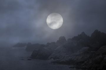 Rocky coast in a foggy full moon night