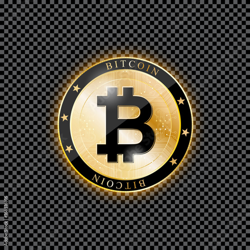 Icon Of Bitcoin A Realistic Coin On Transparent Background Vector Illustration