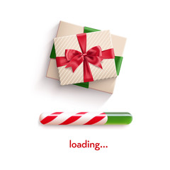 Realistic gift box tied with ribbon with red bow knot and realistic christmas candy cane progress bar . Vector illustration isolated on white.