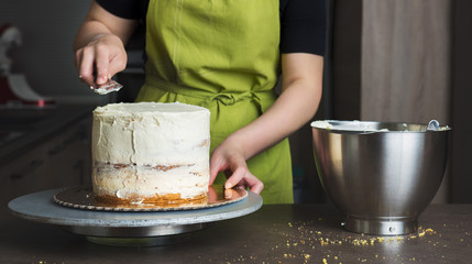 Unrecognisable woman decorating a delicious layered sponge cake with icing cream