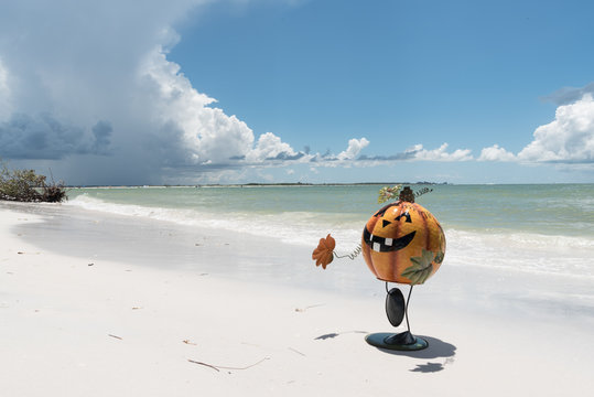 Halloween Pumpkin on the Beach 2