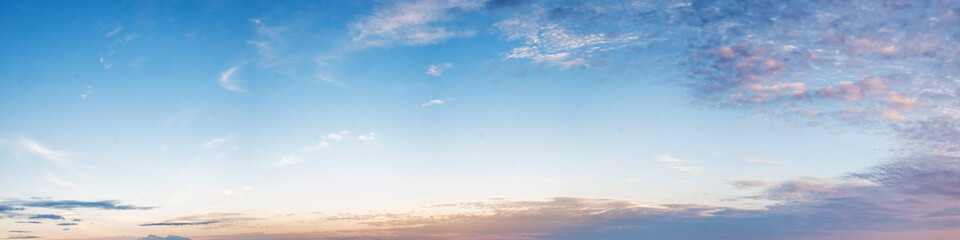 Canvas Prints Heaven Vibrant color panoramic sky with cloud on morning. Beautiful cirrus cloud. Panorama high resolution photograph.