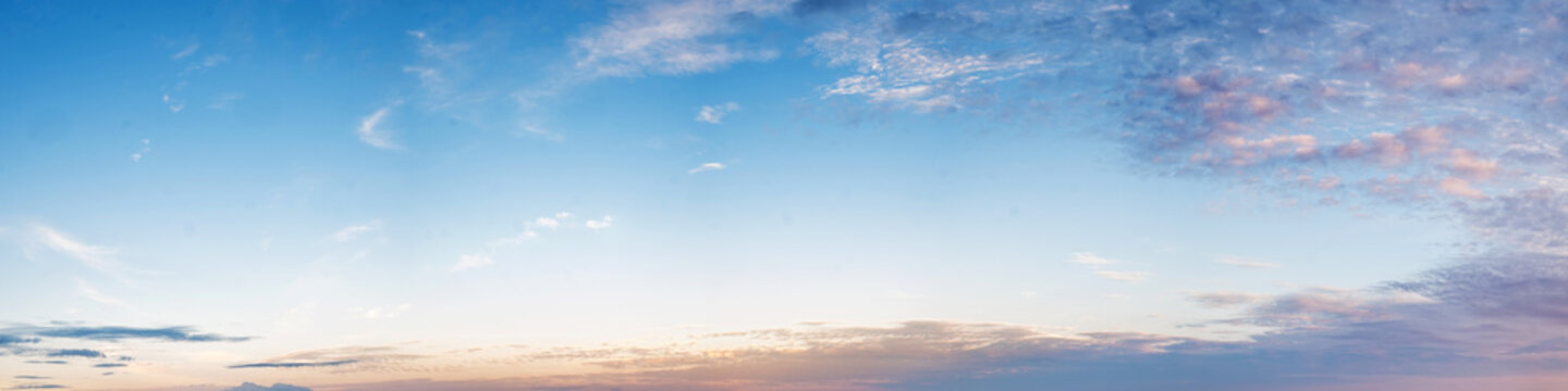 Vibrant color panoramic sky with cloud on morning. Beautiful cirrus cloud. Panorama high resolution photograph.