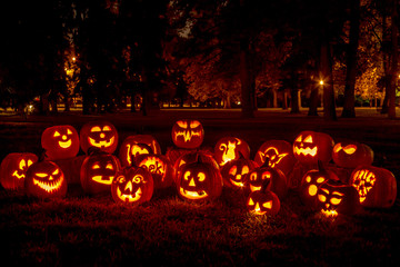 Lighted Halloween Pumpkins with Candles