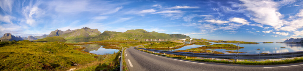 Fotomurales - Lofoten Islands panorama with road and bridges near Fredvang, Norway