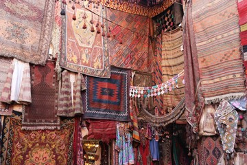 The inside of an old traditional Turkish carpet shop in cappadocia, goreme,in turkey
