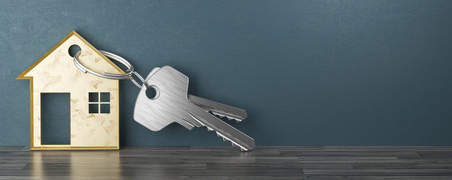 Chiavi con porta chiavi a forma di casa