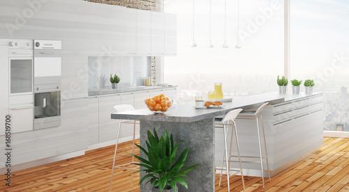 Cucina bianca in legno moderno con parquet e isola\