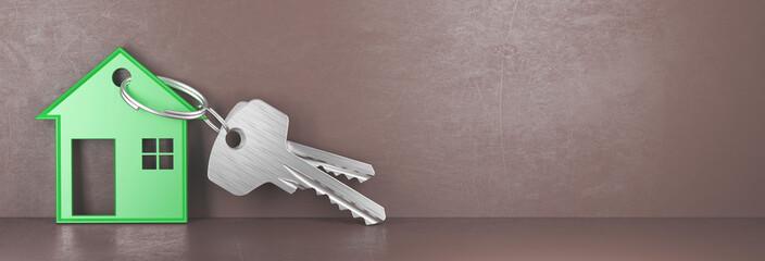 Chiavi di casa con porta chiavi verde, mutuo prima casa