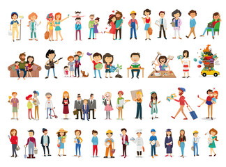 set of happy family, people, with their suitcases family, dinner ,mom reads a story to children, large, Muslim, fashion illustration, stylish teenagers, friendship , vector