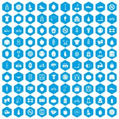 100 fitness icons set blue