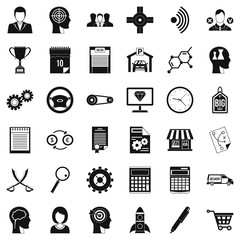 Business road icons set, simple style