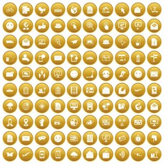 100 mail icons set gold