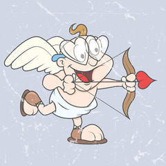 Funny Kid Cupid Playing - Retro Cartoon Graphic