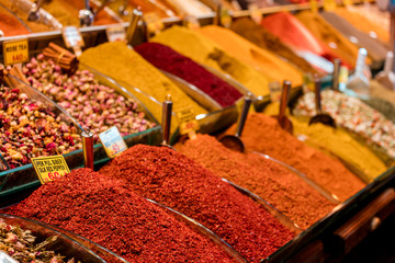 Counter with spices. The Egyptian Bazaar. Istanbul. Turkey. May 2017