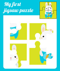 Puzzle kids activity. Complete the picture. Elementary jigsaw with cute rabbit. Educational game for pre school years children