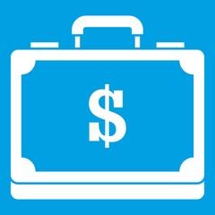 Briefcase full of money icon white