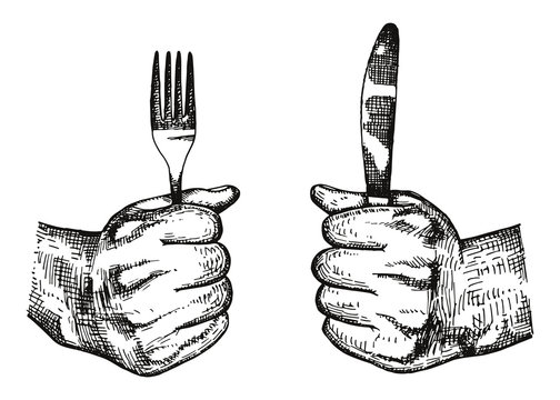 Fork and knife in hand vector. Cutlery manual drawing. Sketch illustration