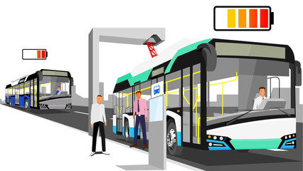 Electric ocean-blue bus loaded with pantograph at the bus stop isolated