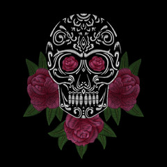 Skull and red roses. Traditional folk flower stylish embroidery on the black background. Sketch for printing on fabric, clothing, bag, accessories and design. Vector, trend